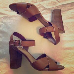 Crown Vintage tan block heels